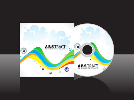 cd cover: abstract artistic rainbow cd cover template vector illustration Illustration