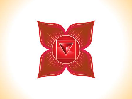 sanskrit: detailed root chakra vector illustration
