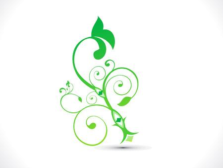 black swirls: abstract green floral shape vector illustration