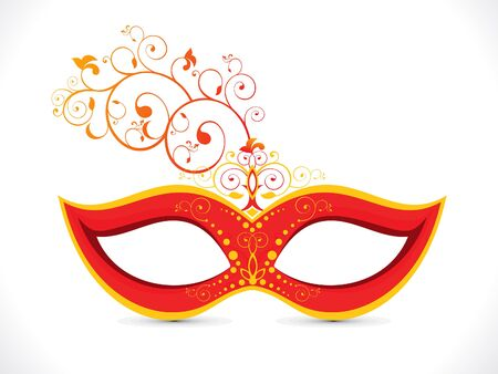 mardi gras mask: abstract artistic floral red mask vector illustration