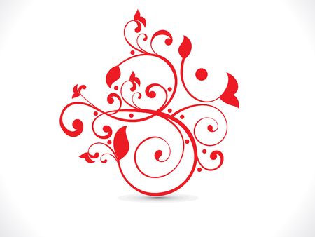 navratri: abstract artistic red floral om text  vector illustration Illustration