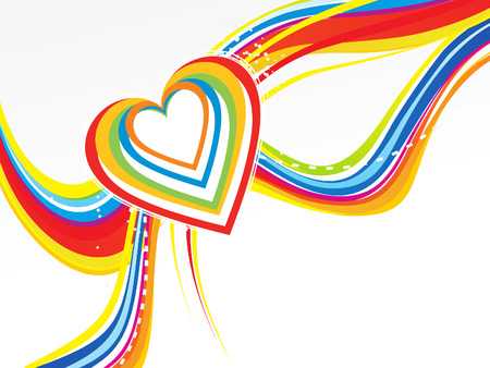 febuary: abstract rainbow wave with heart vector illustration Illustration