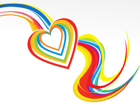 wave vector: abstract colorful rainbow wave with heart vector illustration Illustration