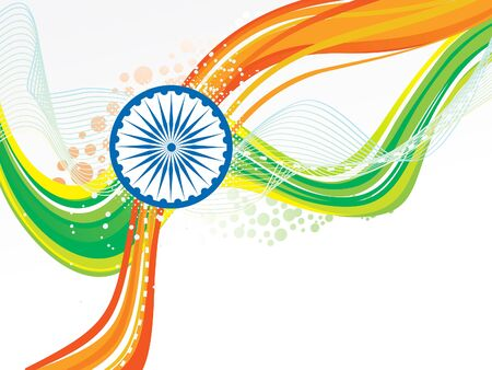 abstract indian flag wave with chakra vector illustration Illustration