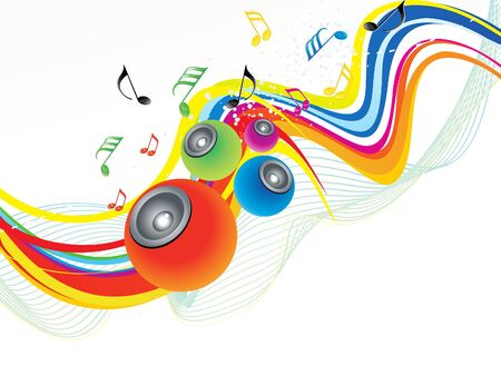 discoteque: abstract rainbow wave with sound vector illustration Illustration