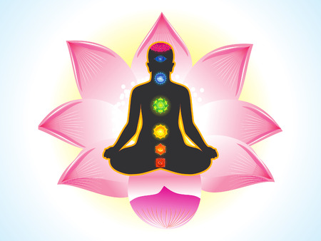energy healing: abstract yogi with lotus background vector illustration Illustration