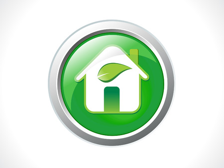 eco home: abstract glossy eco home icon vector illustration
