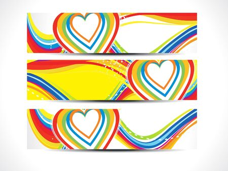febuary: abstract artistic colorful love web banners vector illustration
