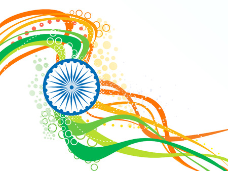independence: abstract artistic indian flag wave background vector illustration Illustration