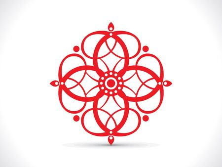 curve creative: abstract artistic red floral element vector illustration