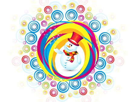 cool man: abstract colorful christmas snowman explode vector illustration