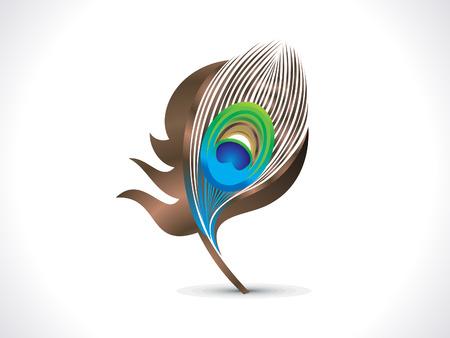 pluma de pavo real: abstracta del pavo real artística ilustración vectorial pluma