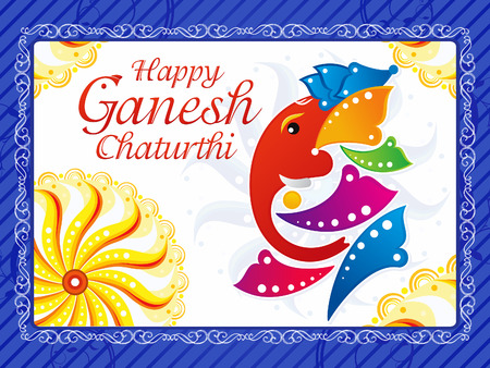 deepawali: abstract artistic ganesh chaturthi background vector illustration