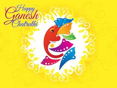 ganesh: artístico chaturthi ganesh ilustración vectorial