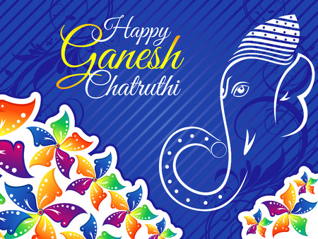 ganesh: artístico colorido chaturthi ganesh ilustración vectorial Vectores