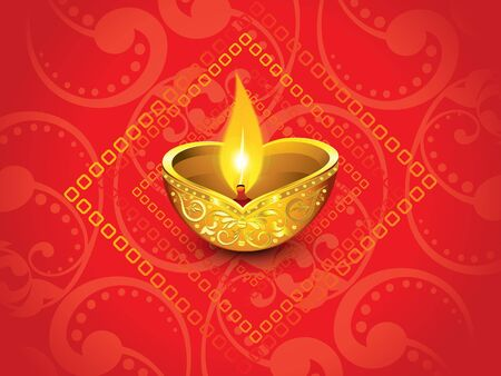 deepawali backdrop: abstract artistic red golden diwali vector illustration