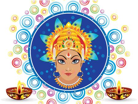 devi: abstract colorful artistic durga background vector illustration Illustration