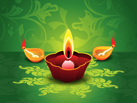 shubh: abstract artistic green diwali background vector illustration Illustration