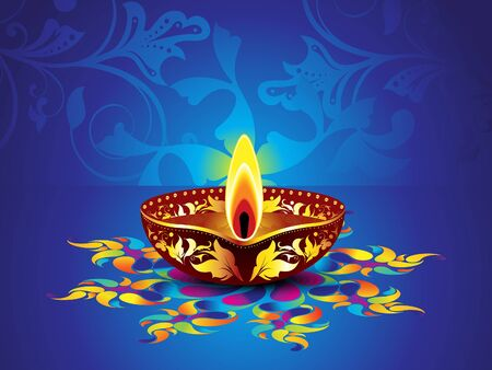 deepawali backdrop: abstract artistic blue diwali background vector illustration