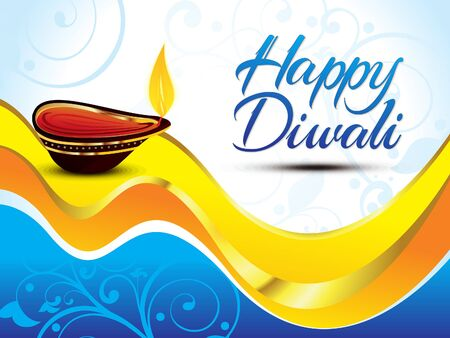 diwali celebration: artistic blue happy diwali background vector illustration