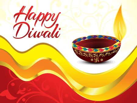 deepawali backdrop: artistic happy diwali background vector illustration