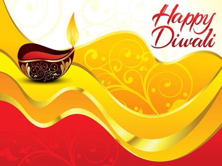shubh: artistic red diwali background vector illustration