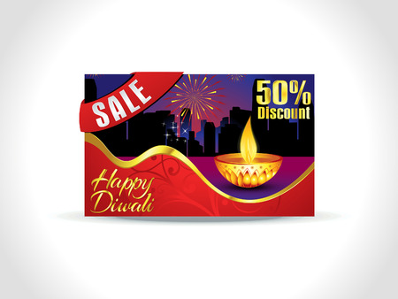 shubh: abstract artistic diwali discount card background vector illustration