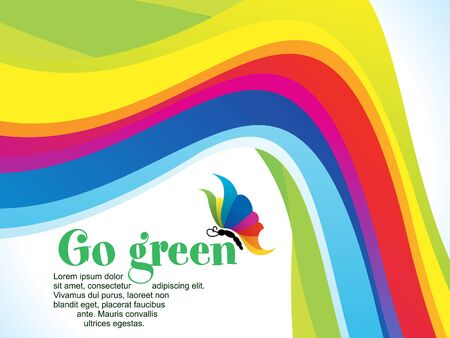 green lines: abstract colorful rainbow background vector illustration Illustration