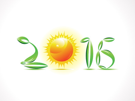 new plant: abstract eco based new year text vector illustration