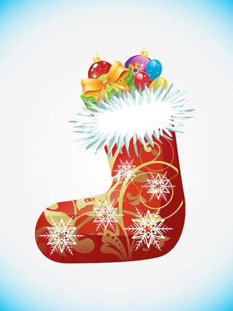 sock: artistic detailed christmas sock vector illustration
