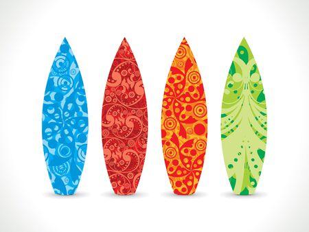 artistico colorato tavola da surf illustrazione vettoriale Vettoriali