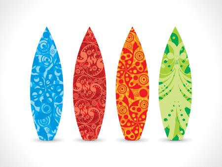 abstract artistic colorful surf board vector illustration