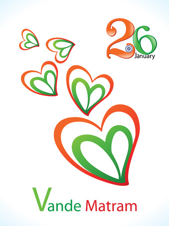 abstract indian republic day heart vector illustration