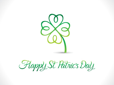 four leafed: abstract artistic st patrick day clover vector illustration