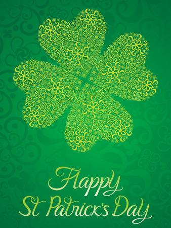 leafed: abstract artistic green st patricks clover vector illustration Illustration