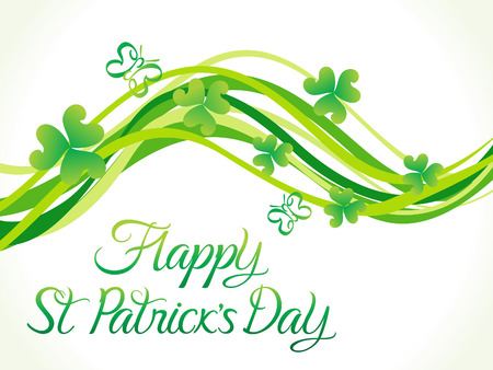 four leafed: abstract st patrick day wave vector illustration