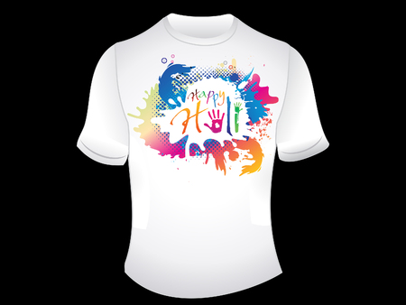 indian traditional: abstract artistic happy holi tshirt vector illustration
