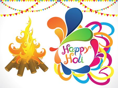 gulal: abstract artistic holi with flame vector illustration