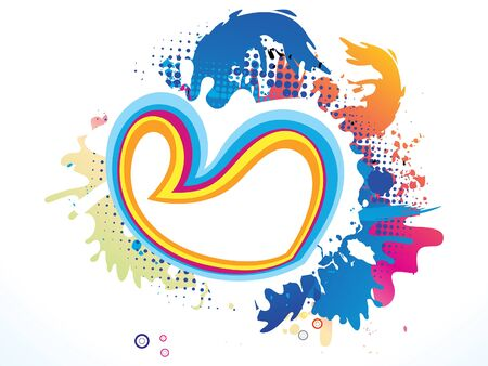 febuary: abstract artistic colorful heart explode vector illustration