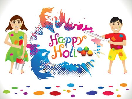 thali: abstract artistic holi background illustration