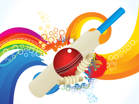 wicket: abstract artistic colorful cricket background illustration