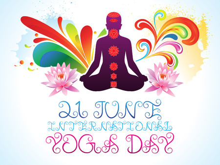 energy healing: abstract colorful yoga day explode illustration