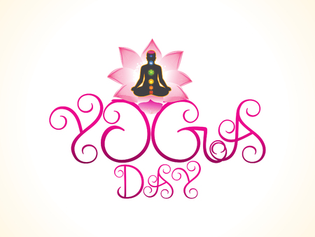 energy healing: artistic yoga day background illustration Illustration