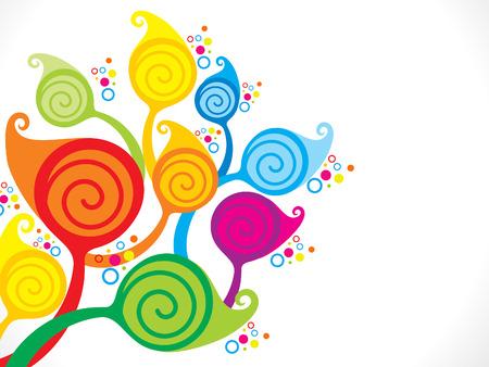 Resumen colorido árbol de ilustración artística floral