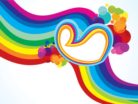 curve creative: abstract artistic colorful wave background with heart illustration
