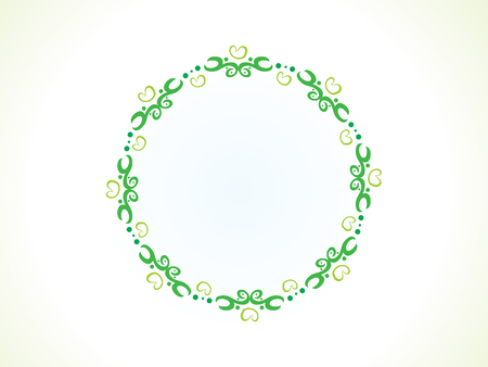 decor graphic: abstract artistic green floral circle border illustration