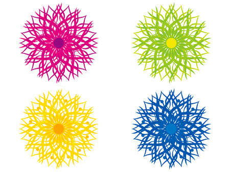 curve creative: abstract artistic multiple colorful floral circle vector illustration