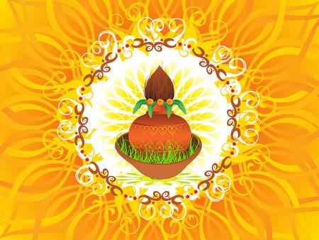 kalasha: abstract navratra background vector illustration Illustration