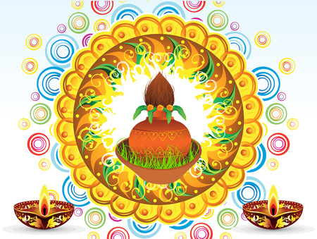 kalasha: abstract artistic detailed navratra background vector illustration