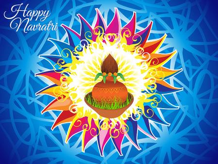 kalasha: abstract artistic colorful navratri background vector illustration Illustration